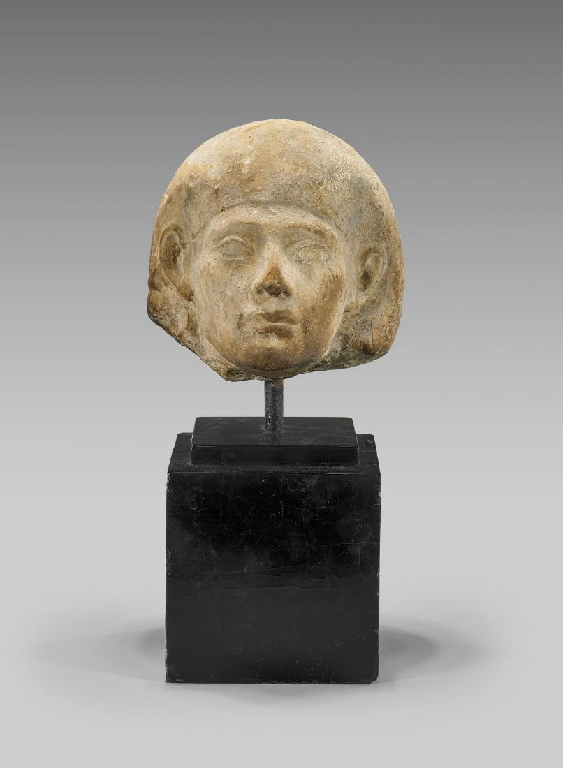 EGYPTIAN CARVED LIMESTONE HEAD - 3