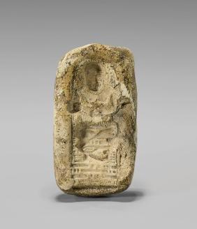 EGYPTIAN LIMESTONE MOLD: Seated Scribe