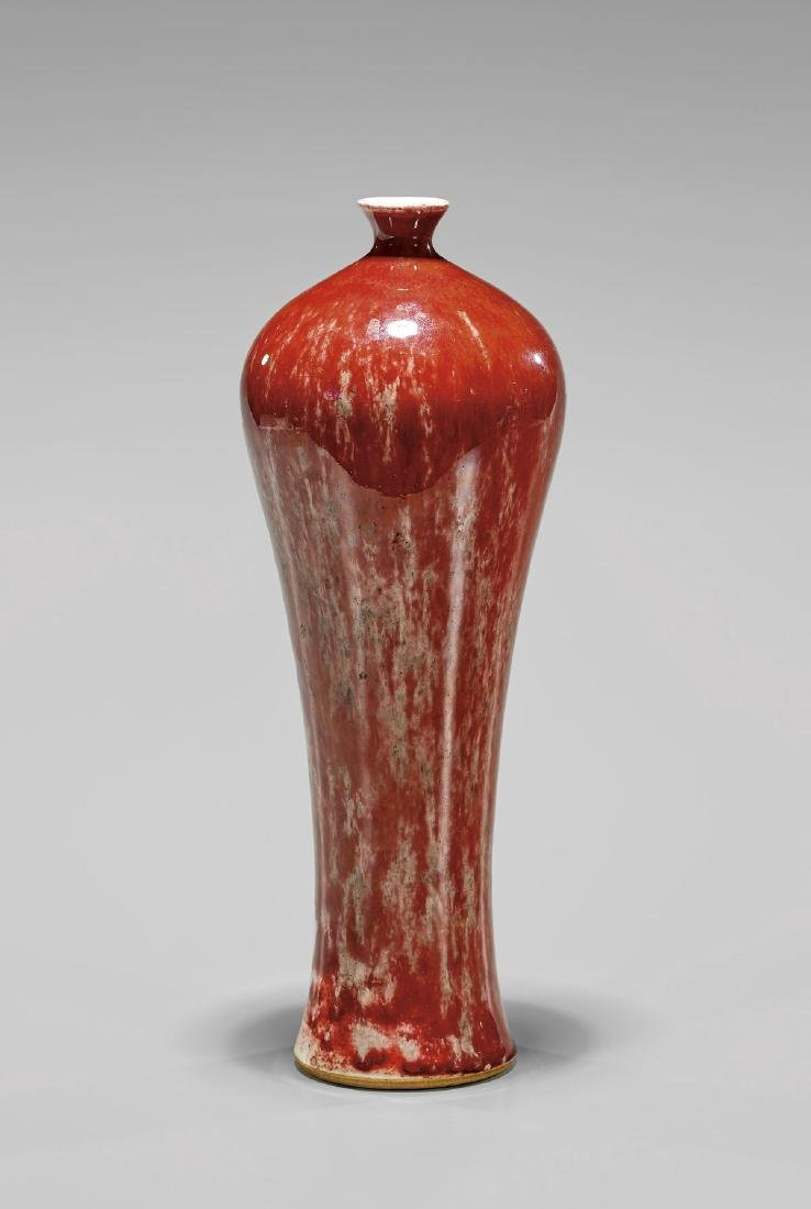 ANTIQUE RED PEACH-BLOOM PORCELAIN VASE