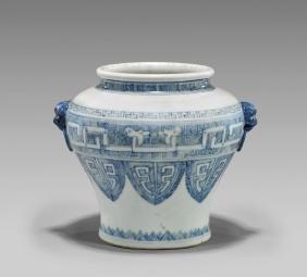 18TH CENTURY BLUE & WHITE PORCELAIN VASE