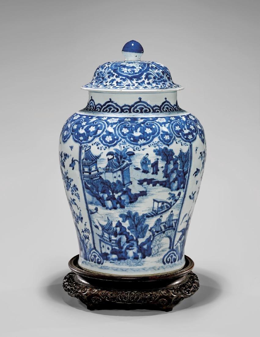 LARGE KANGXI PERIOD BLUE & WHITE COVERED JAR