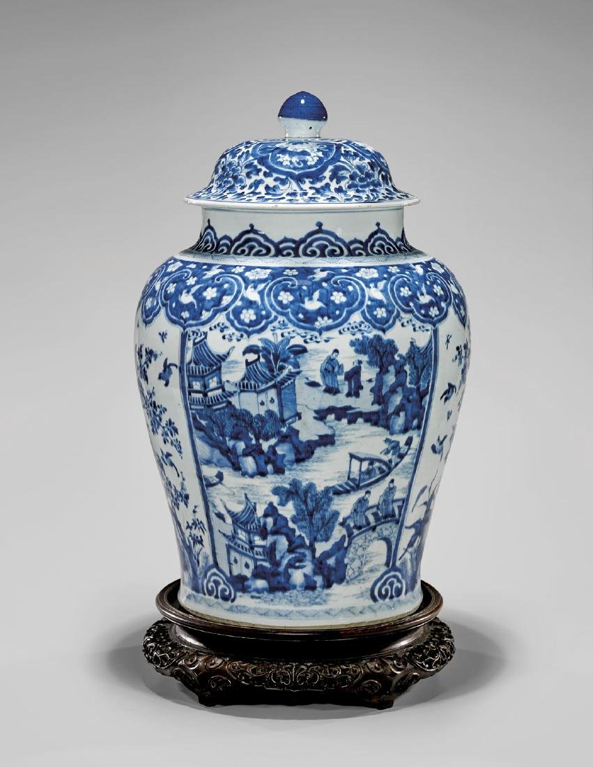 LARGE KANGXI PERIOD BLUE & WHITE COVERED JAR