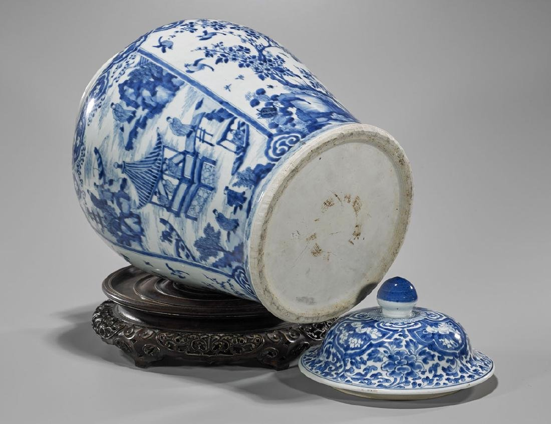 LARGE KANGXI PERIOD BLUE & WHITE COVERED JAR - 3