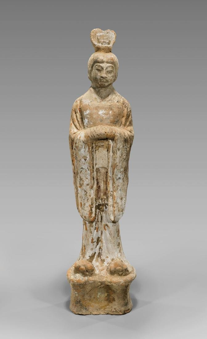 TALL SUI DYNASTY POTTERY FIGURE