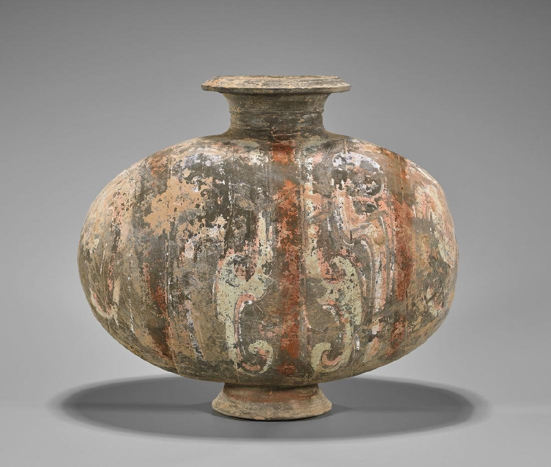 CHINESE HAN DYNASTY POTTERY COCOON VASE - 2