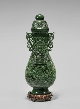 TALL MUGHAL-STYLE SPINACH JADE COVERED VASE