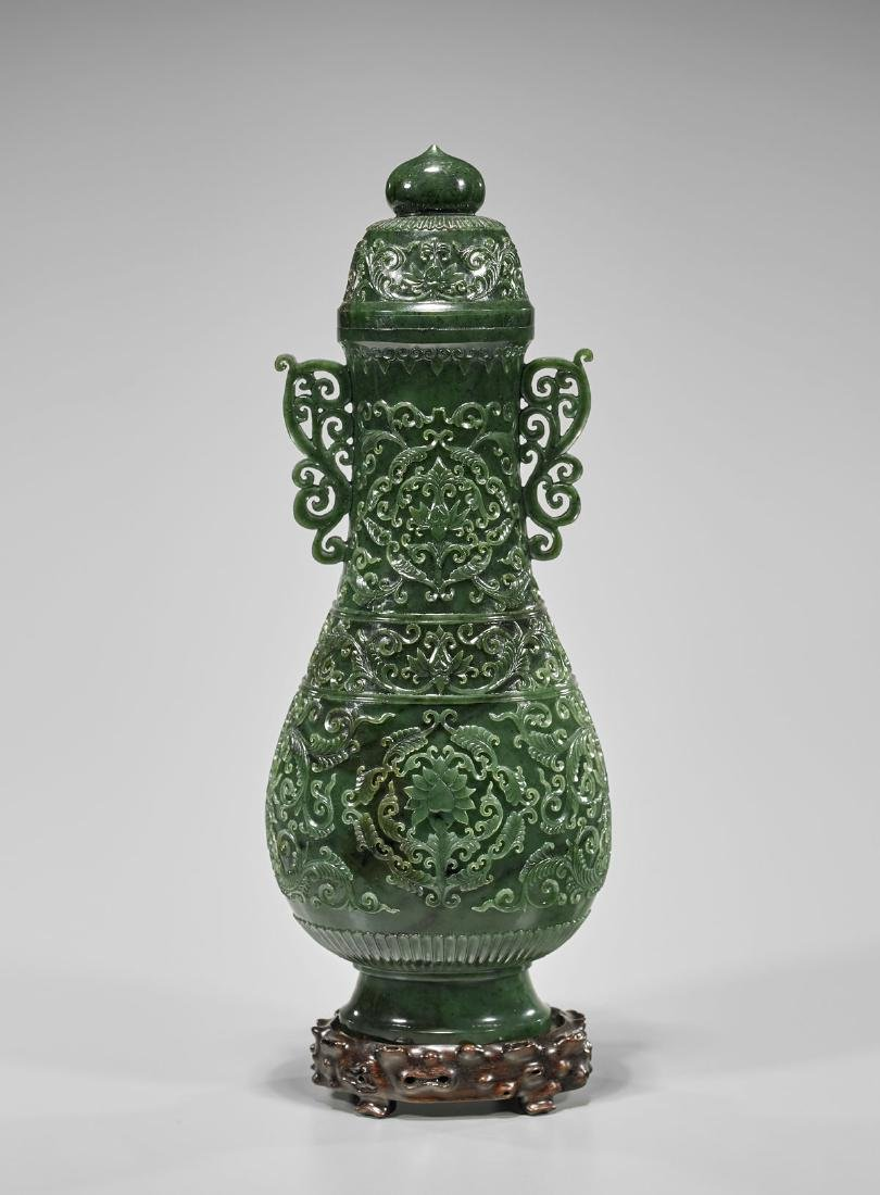 TALL MUGHAL-STYLE SPINACH JADE COVERED VASE - 2