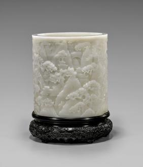 Large White Jade Brushpot
