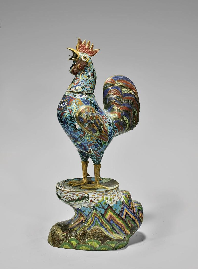 LARGE CHINESE CLOISONNÉ ENAMEL ROOSTER