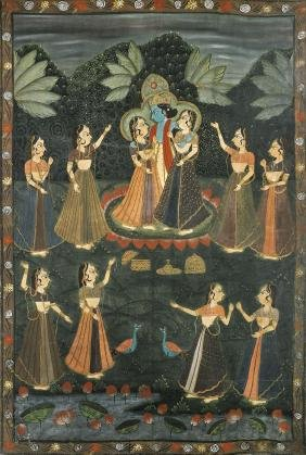 MASSIVE INDIAN PAINTING: Vishnu & Consorts