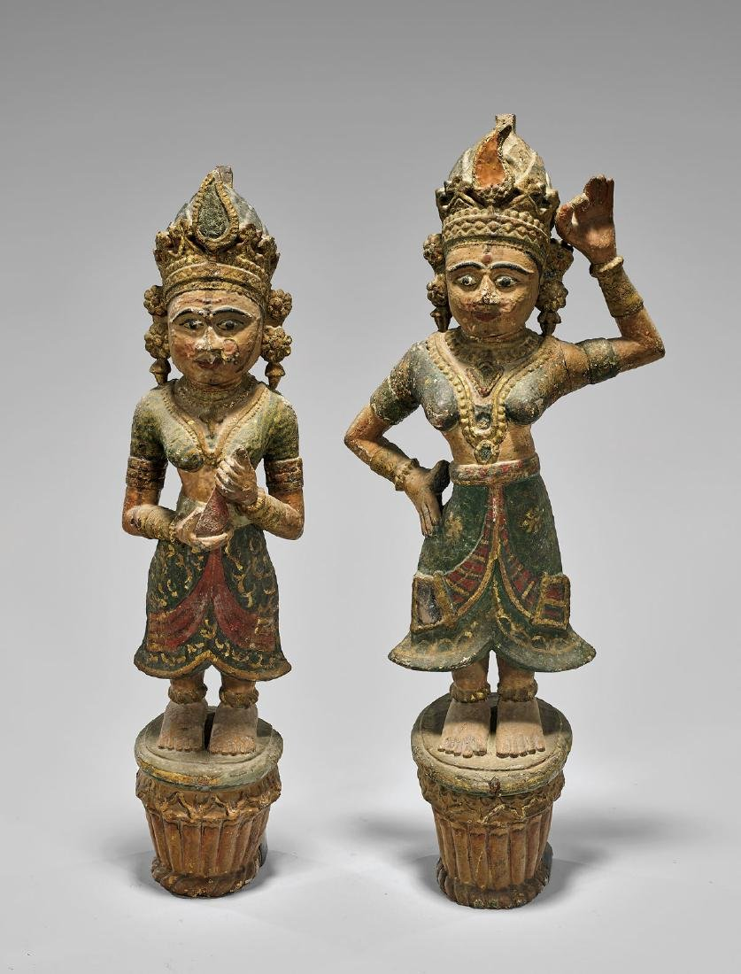 PAIR ANTIQUE INDIAN CARVED & PAINTED APSARAS