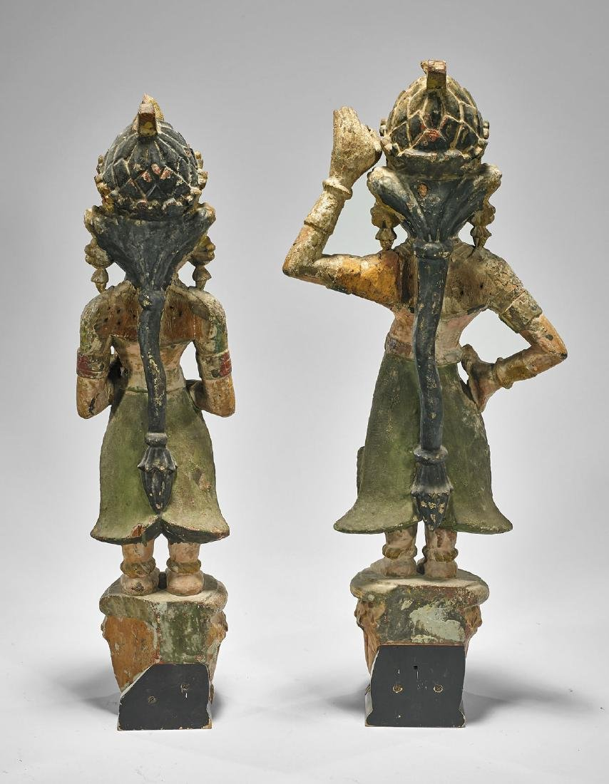 PAIR ANTIQUE INDIAN CARVED & PAINTED APSARAS - 2