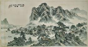 MASSIVE CHINESE OR KOREAN LANDSCAPE PAINTING