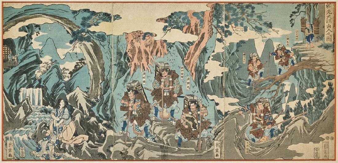 ANTIQUE WOODBLOCK TRIPTYCH BY SHIGENOBU/HIROSHIGE II