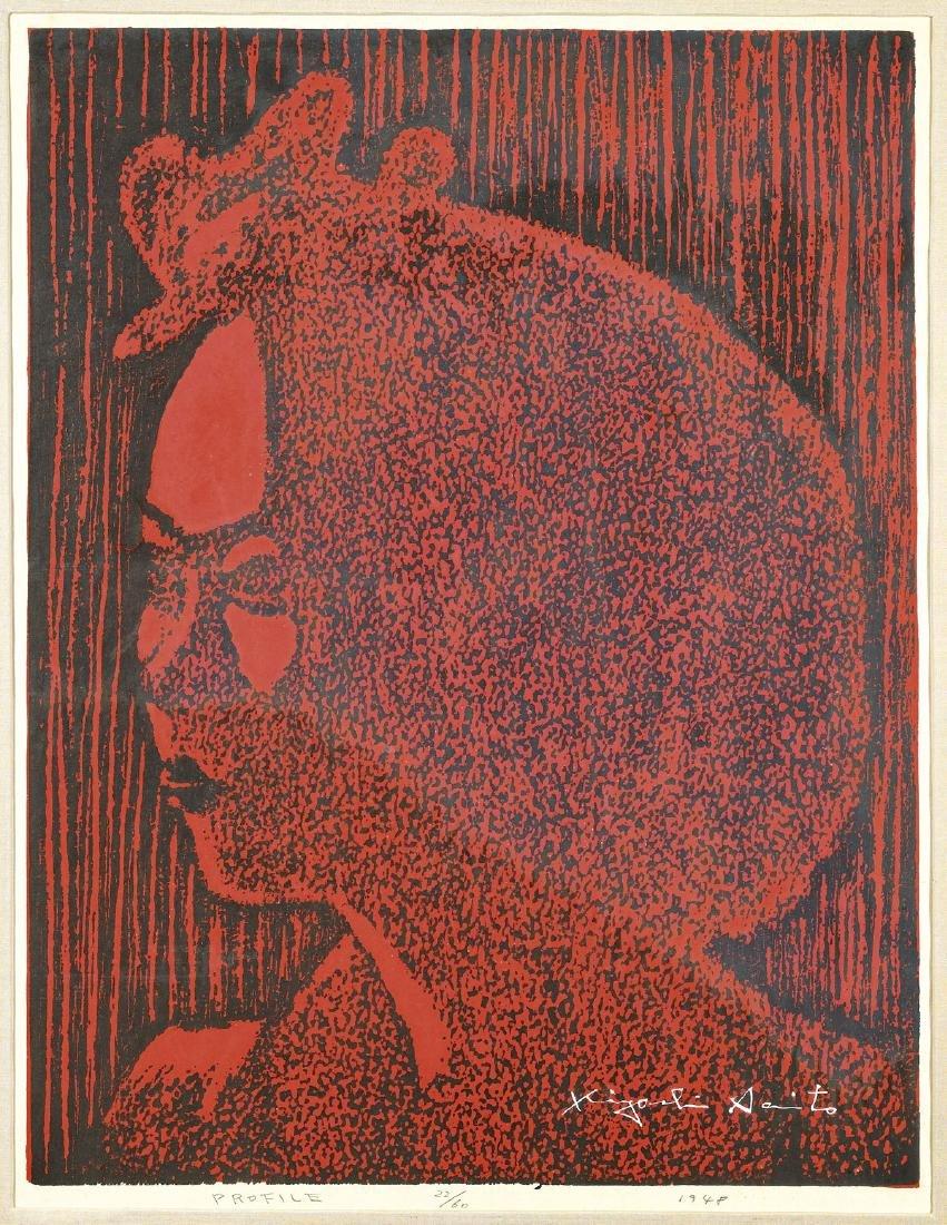 WOODBLOCK PRINT BY KIYOSHI SAITO: Red Profile