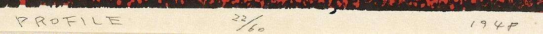WOODBLOCK PRINT BY KIYOSHI SAITO: Red Profile - 3