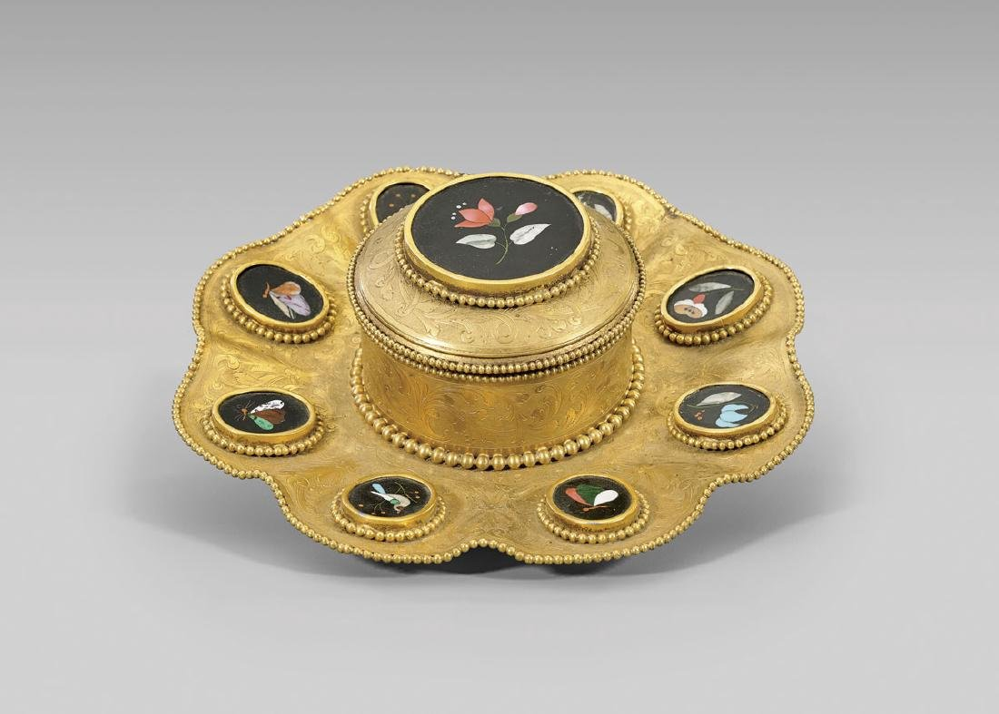 ANTIQUE CONTINENTAL GILT BRONZE PIETRA DURA INKWELL