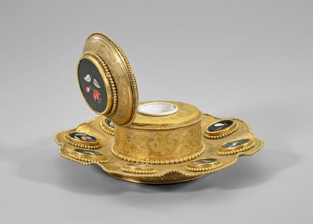 ANTIQUE CONTINENTAL GILT BRONZE PIETRA DURA INKWELL - 2