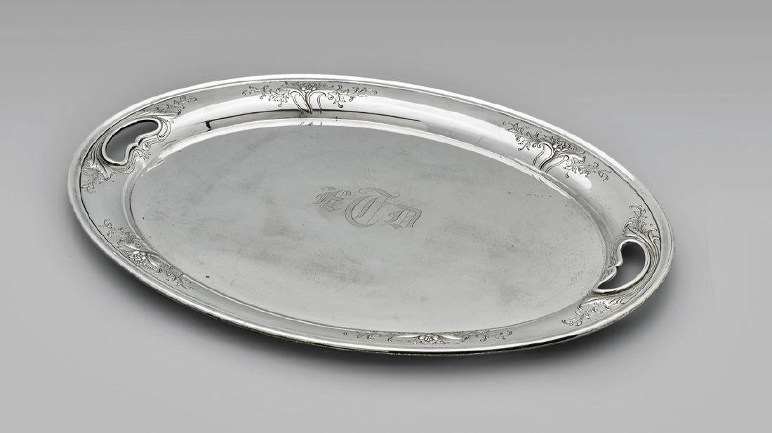 AMERICAN STERLING SILVER TRAY BY ALVIN: Chateau Rose
