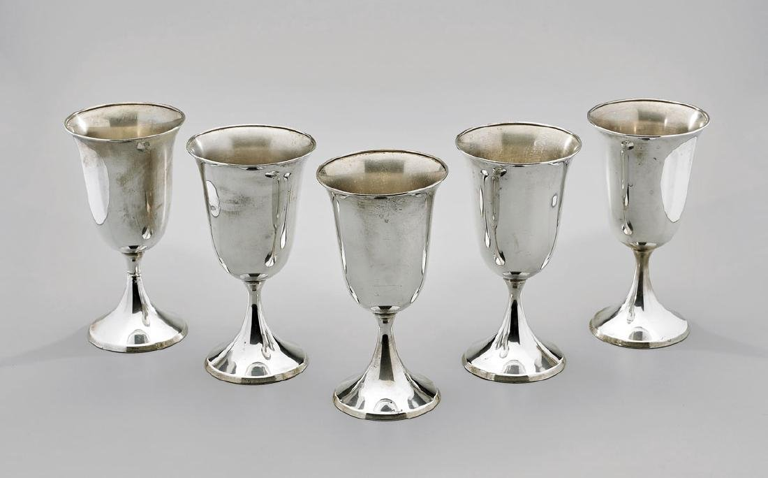 FIVE STERLING SILVER WATER GOBLETS BY F.B. ROGERS