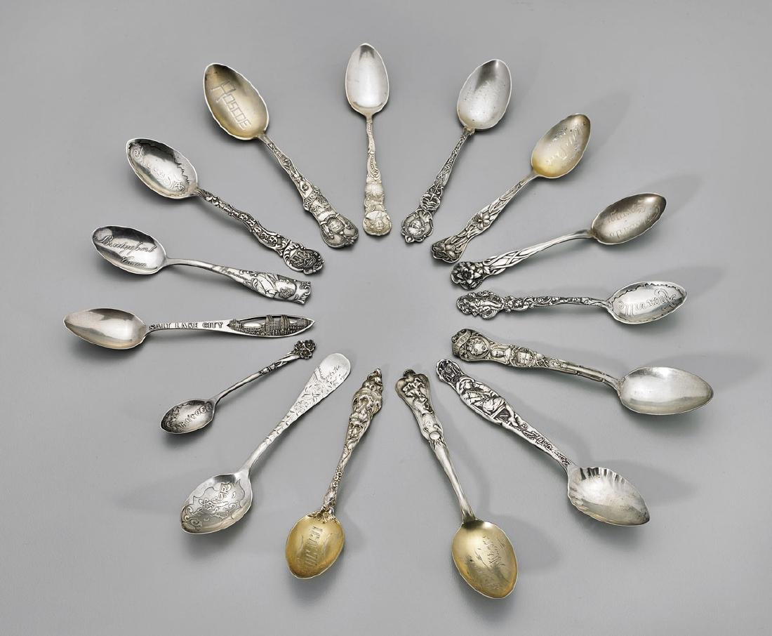 STERLING SILVER SOUVENIR SPOONS: American Cities &