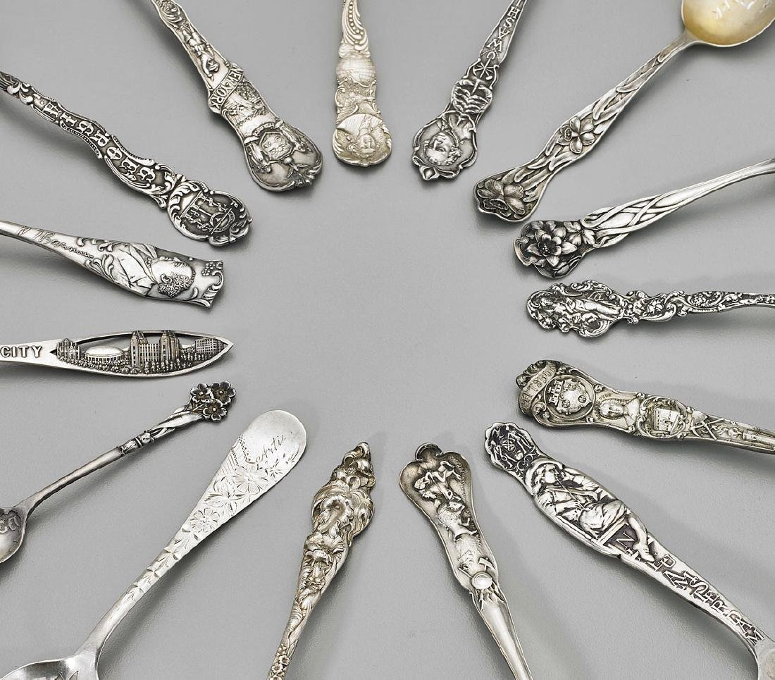 STERLING SILVER SOUVENIR SPOONS: American Cities & - 2