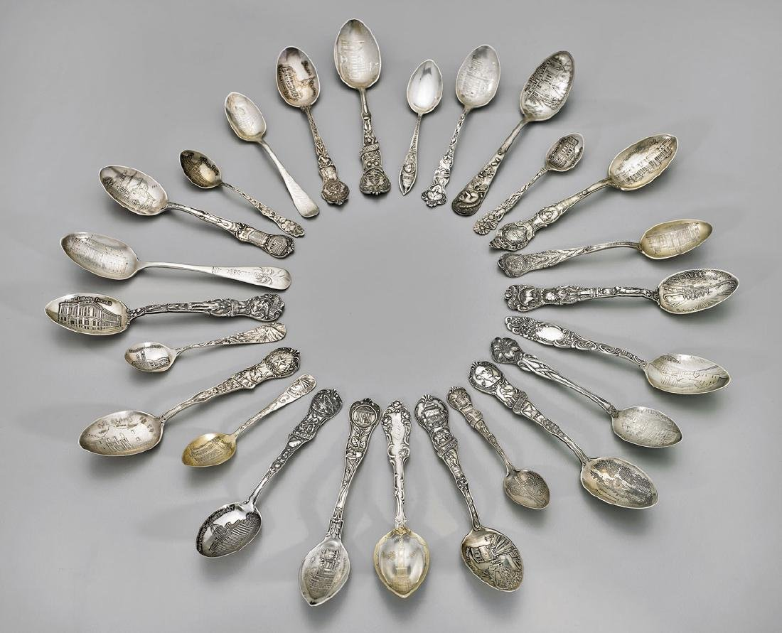 AMERICAN STERLING SOUVENIR SPOONS: Various Makers