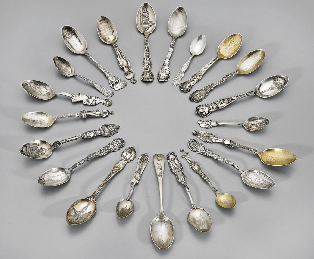 GROUP STERLING SILVER SOUVENIR SPOONS