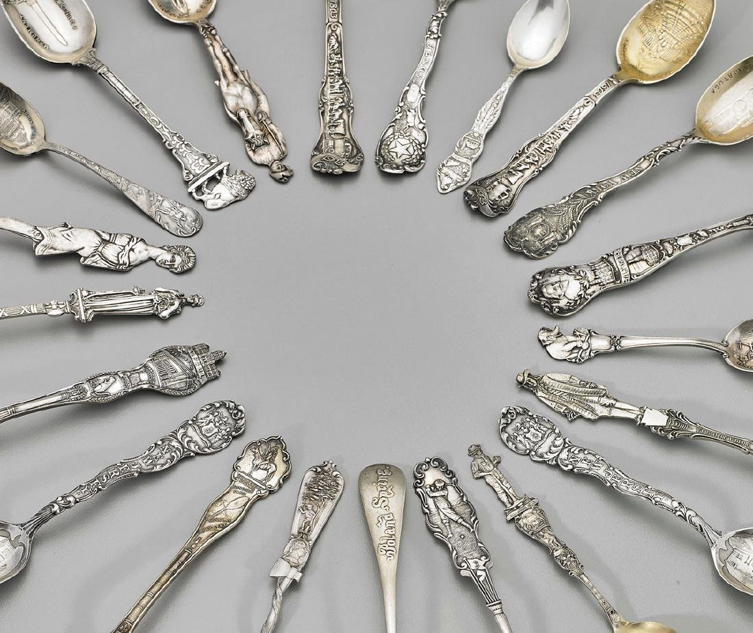 GROUP STERLING SILVER SOUVENIR SPOONS - 2