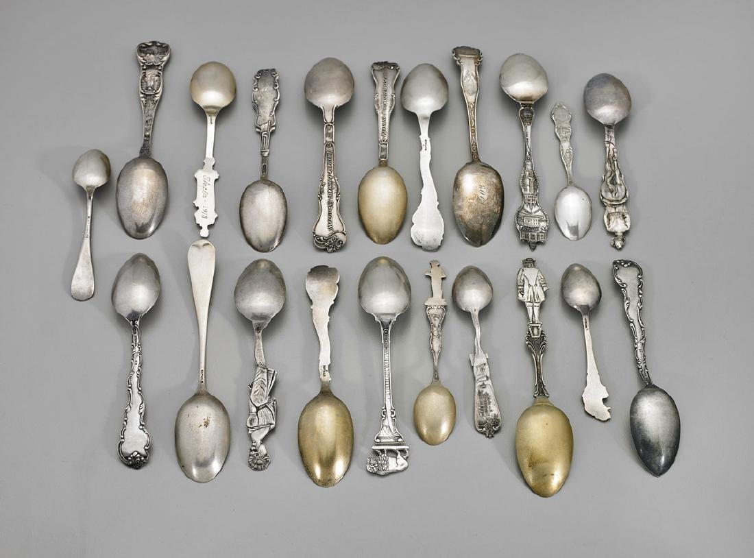 GROUP STERLING SILVER SOUVENIR SPOONS - 3