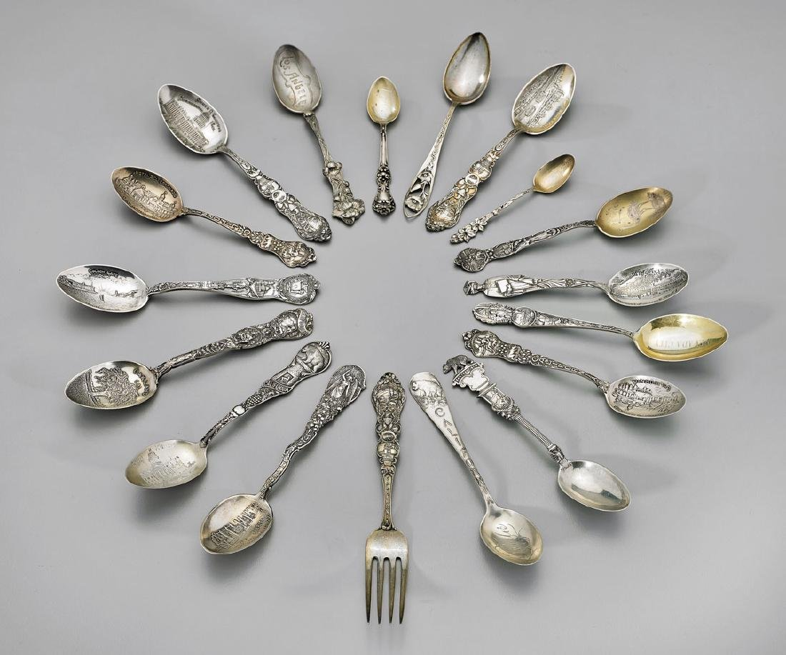 STERLING SILVER SOUVENIR SPOONS & FORK: California
