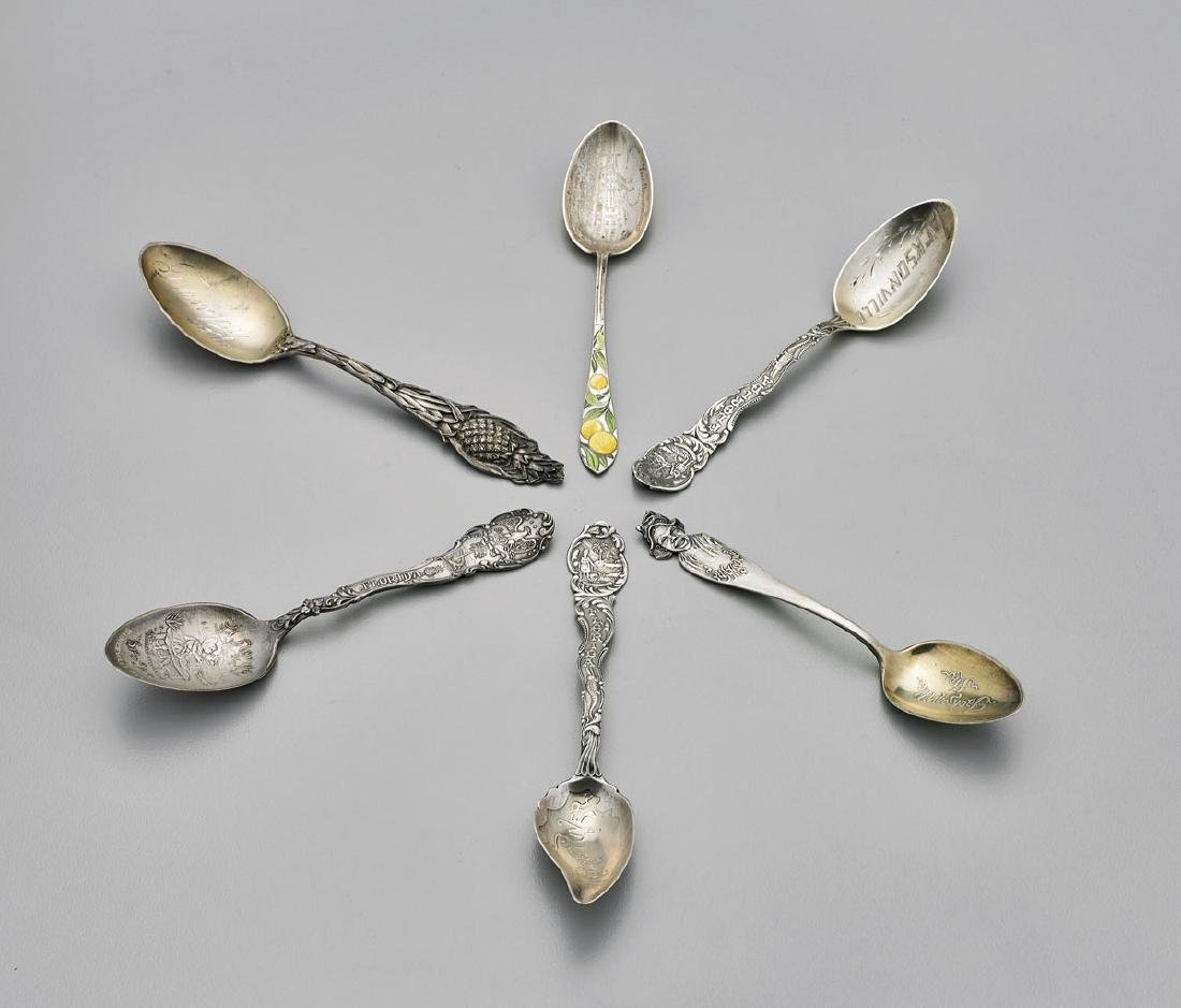 SIX STERLING SILVER SOUVENIR SPOONS: Florida