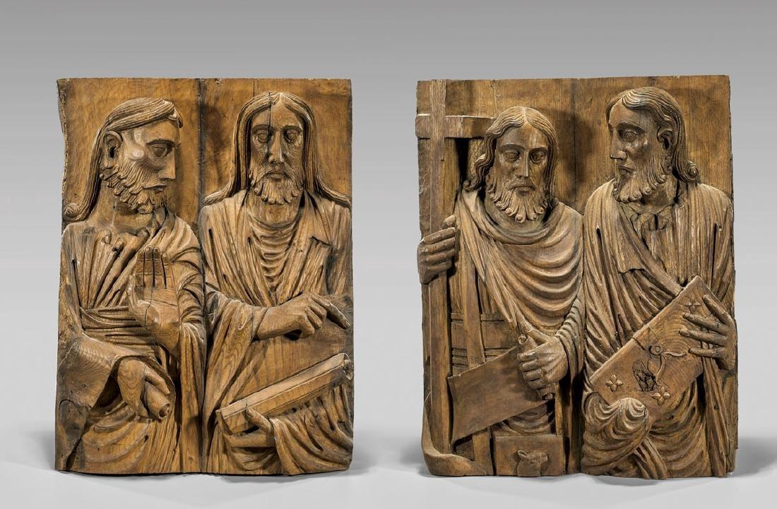 PAIR ANTIQUE CARVED WOOD FIGURAL PANELS: Saints