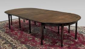 GEORGE III MAHOGANY DINING TABLE & HEPPLEWHITE CHAIRS