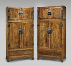 PAIR FINE CHINESE HUANGHUALI STACKED CABINETS