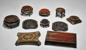 TEN LARGE CHINESE WOOD STANDS