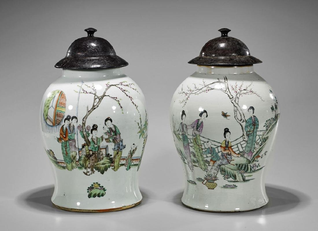 Pair Old Chinese Porcelain Jars: Beauties & Boys