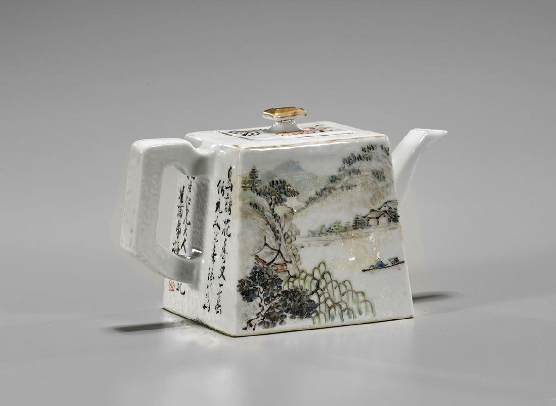 Chinese Enameled Porcelain Teapot - 2