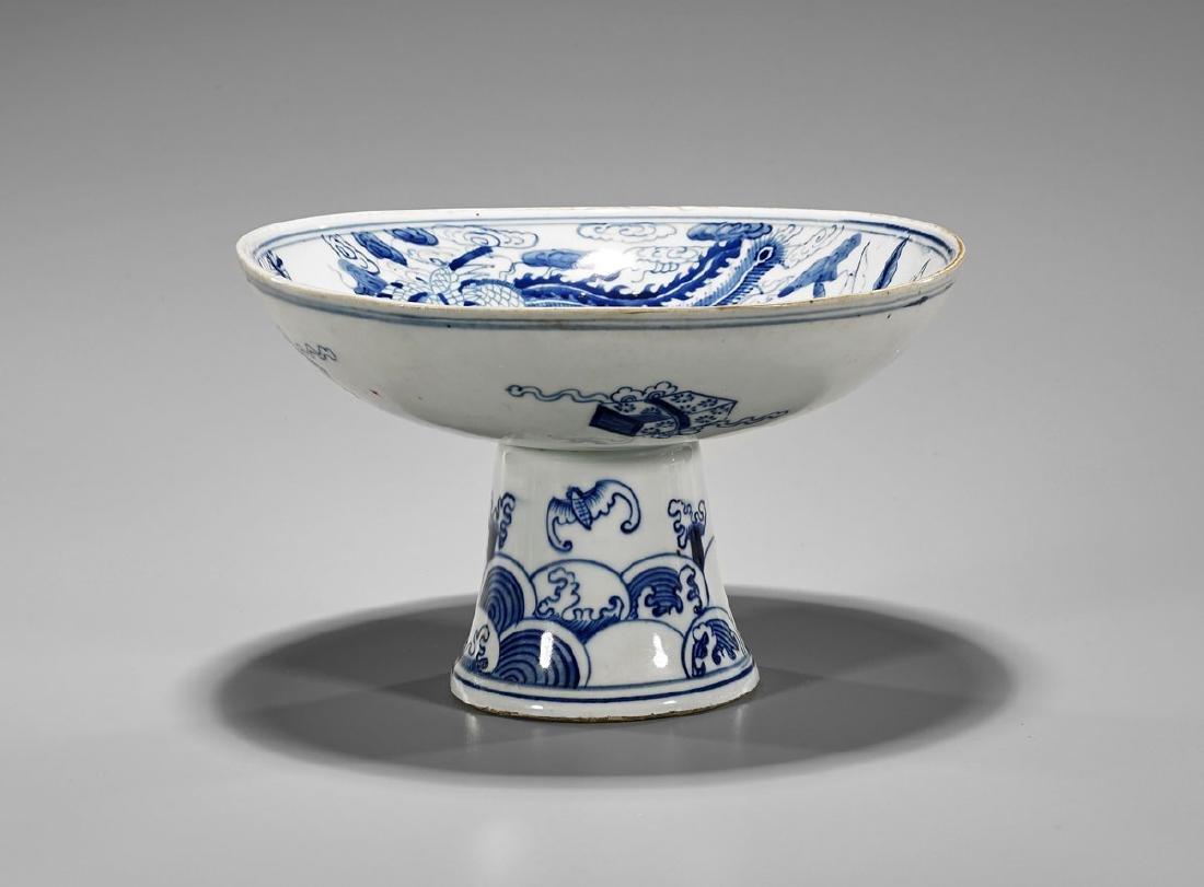 Chinese Blue & White Porcelain Stem Bowl