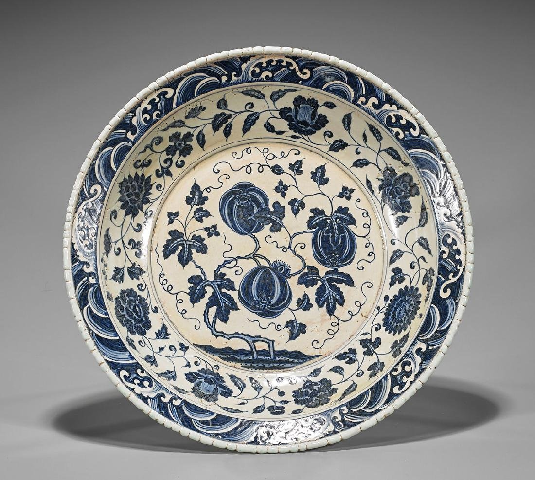 Ming-Style Blue & White Porcelain Basin