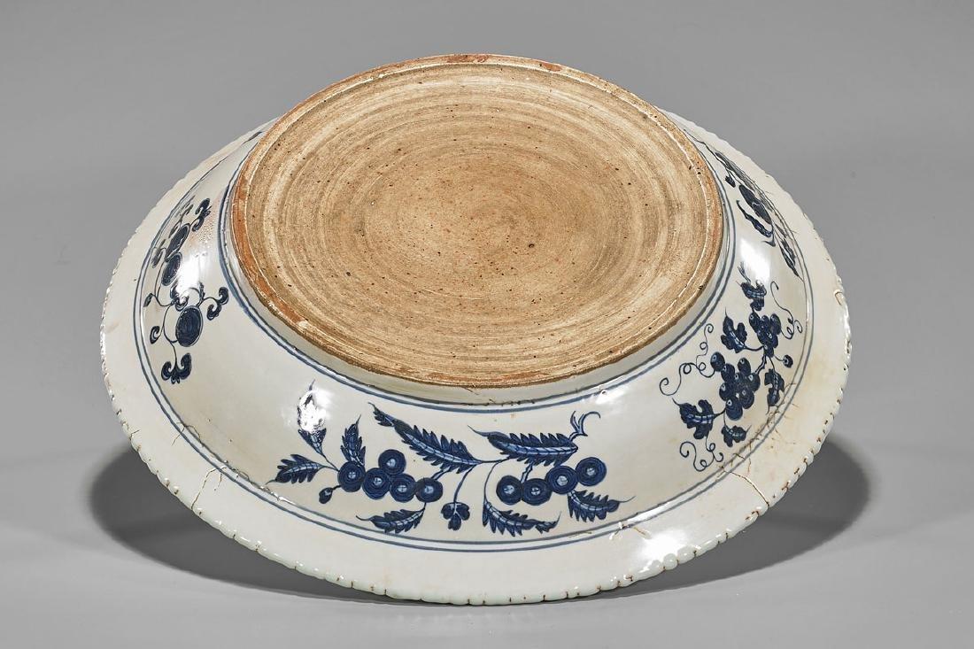 Ming-Style Blue & White Porcelain Basin - 2