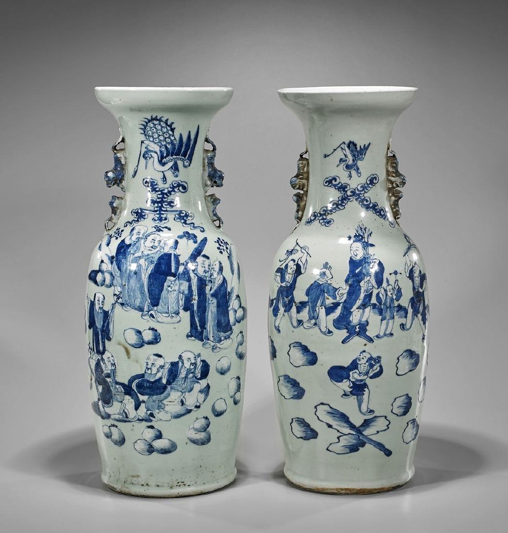 Pair Antique Blue & White on Celadon Porcelain Vases