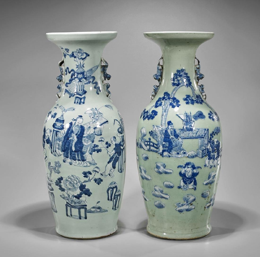 Pair Antique Blue & White on Celadon Porcelain Vases:
