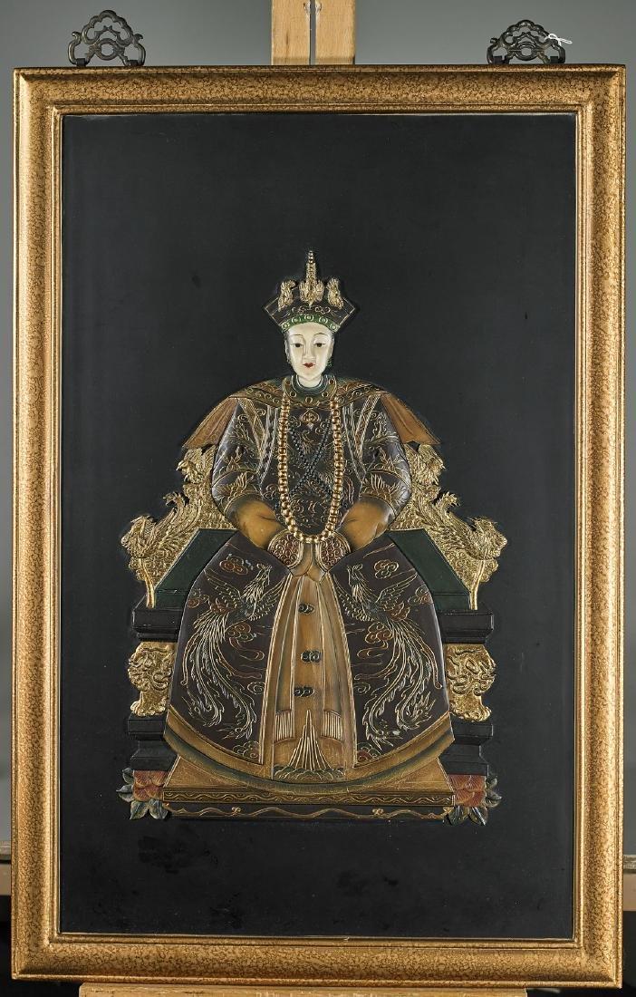 Pair Chinese Applique Portraits: Emperor & Empress