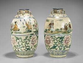Pair Chinese Crackle-Glazed Ceramic Vases