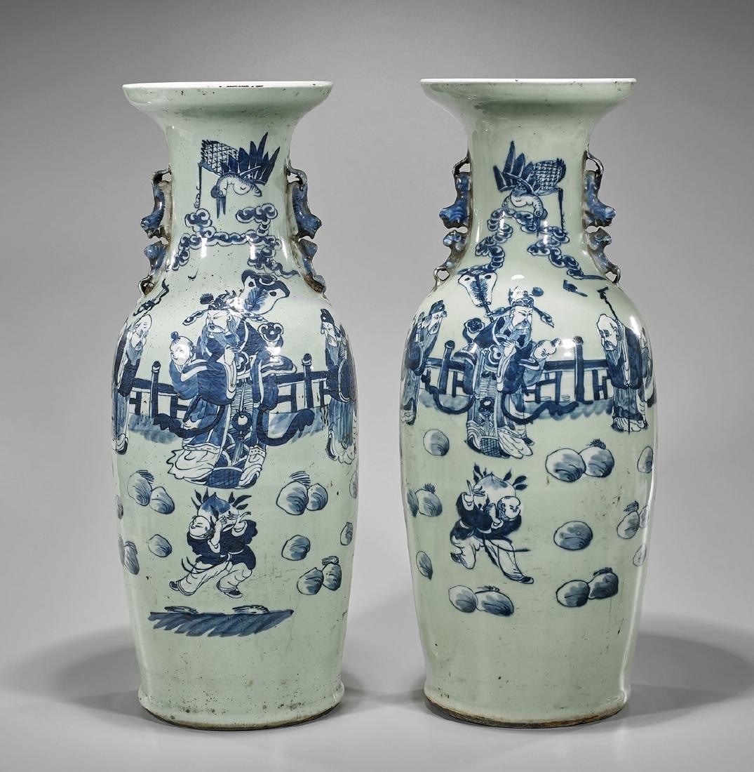 Pair Antique Chinese Phoenix-Tail Porcelain Vases
