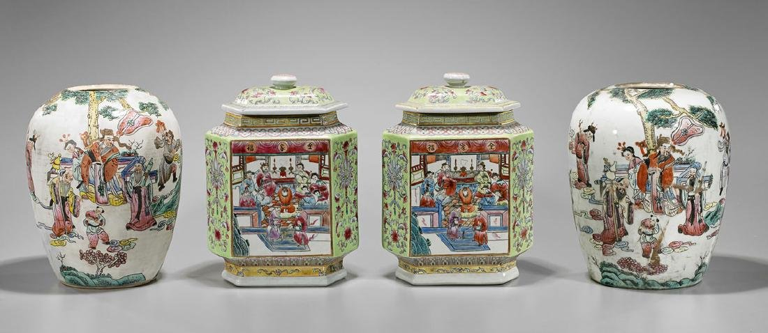 Two Pairs Chinese Enameled Porcelains
