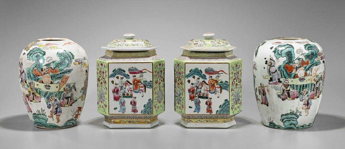 Two Pairs Chinese Enameled Porcelains - 2