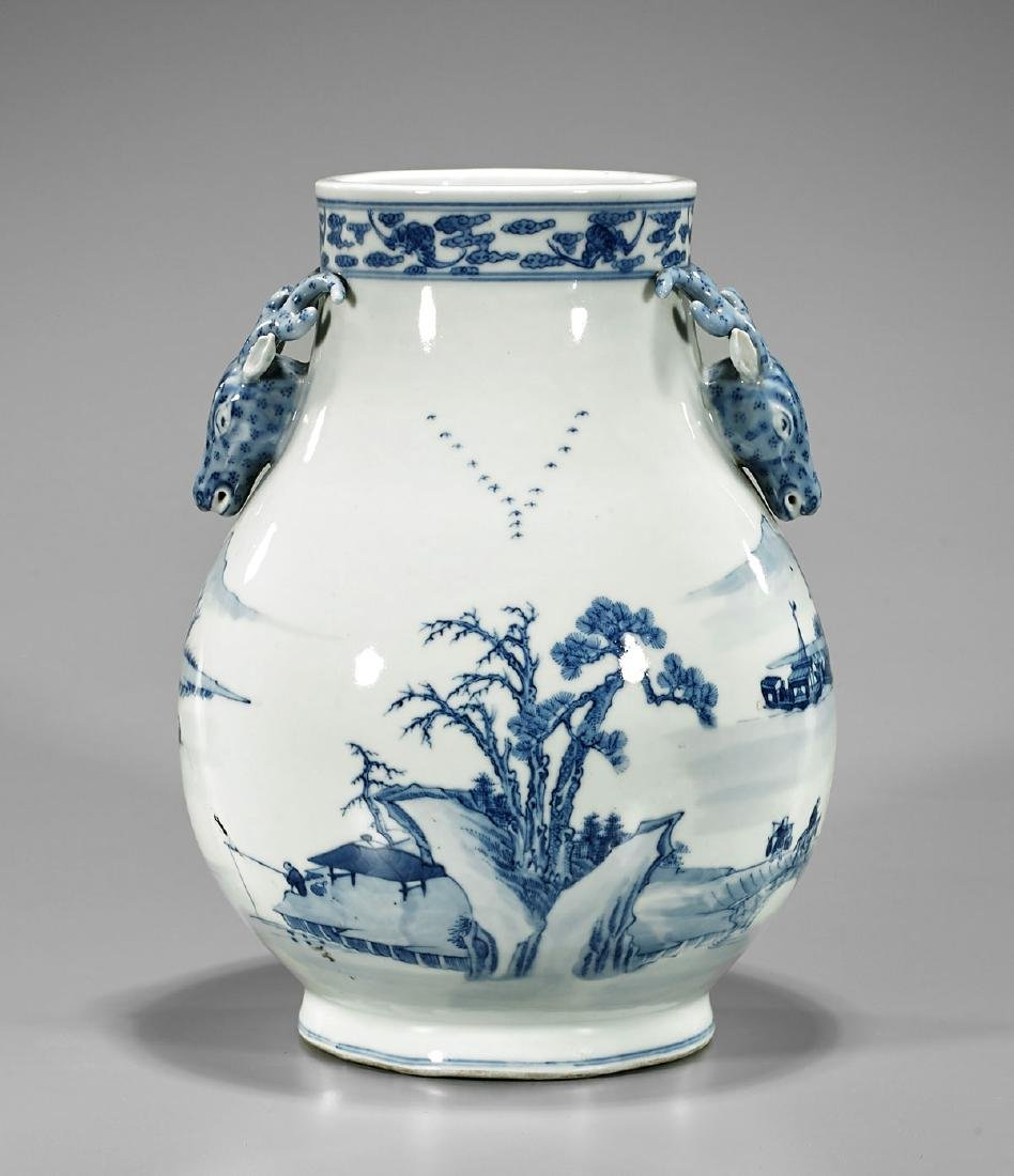 Old Chinese Blue & White Porcelain Vase - 2