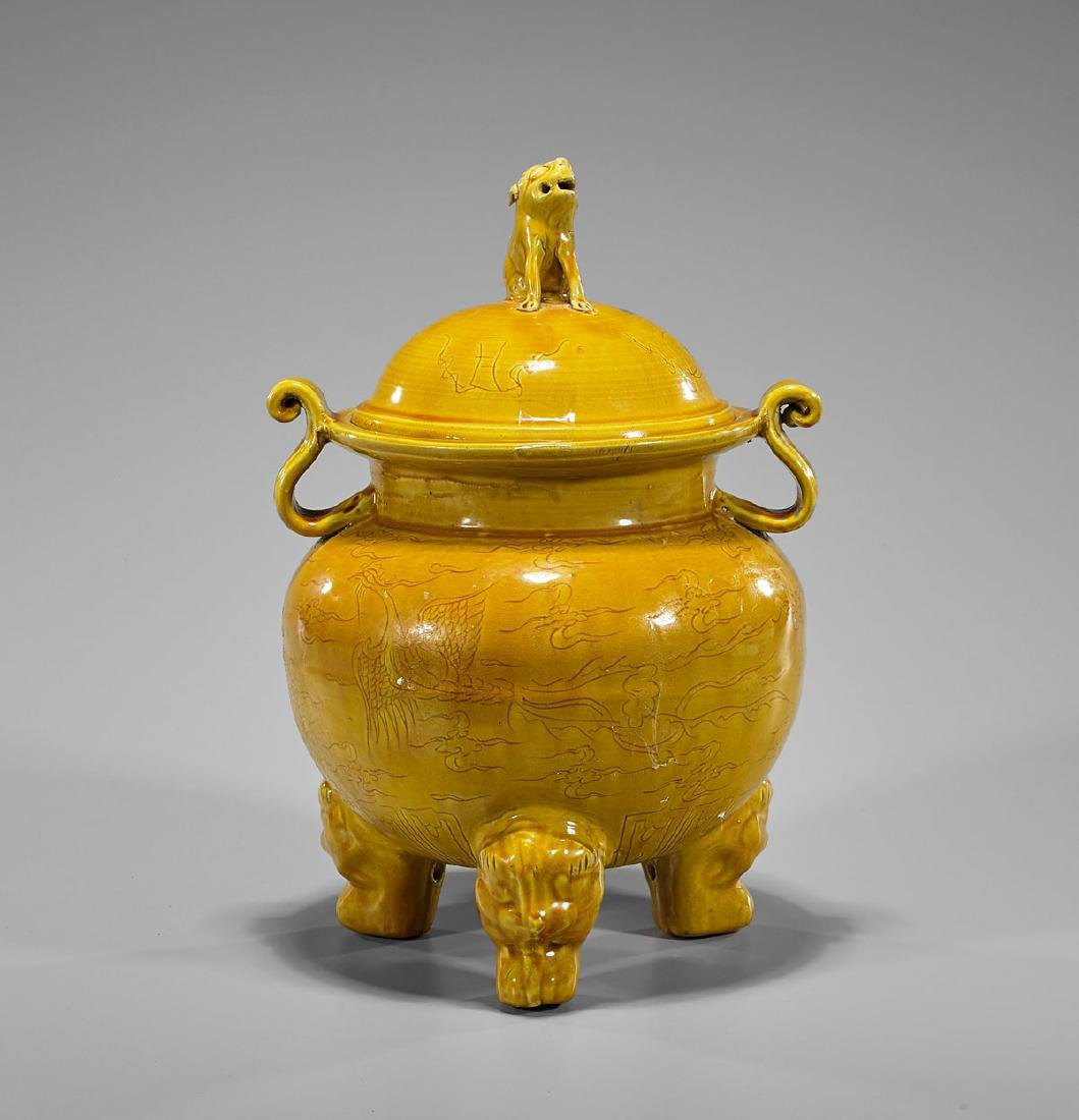 Chinese Yellow Glazed Porcelain Censer